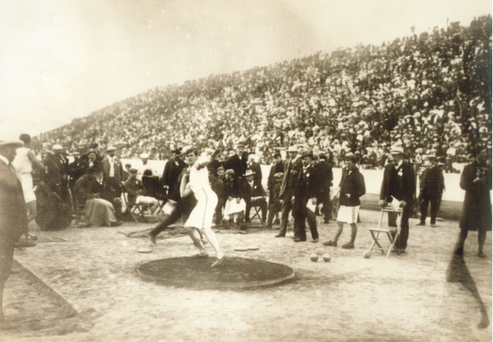 M. Sheridan (USA) 1st in the shot-putting contest. The same athlete was also the winner of the discus-throwing event at 1896 modern olympic Games