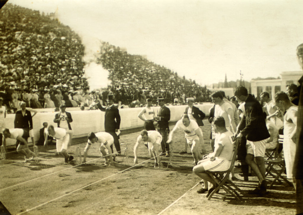 The start of the 100 metres final first modern olympic games 1896