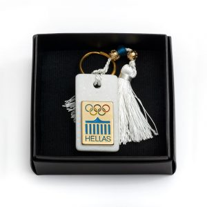 the olympic rings marble keychain