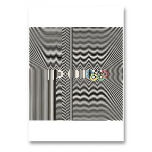 The Mexico Olympic Poster in black and white from the 1968 olympic games